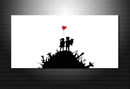 Banksy Kids with Guns canvas art, banksy kids picture, banksy heart, banksy pop art, banksy canvas uk
