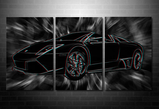 Lamborghini 3D Wall Art, 3d canvas art, lamborghini on canvas