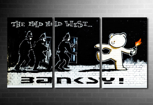 Mild mild west canvas art, Mild West Banksy Print, banksy teddy bear canvas, banksy canvas art, banksy cops canvas