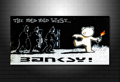 Mild West Banksy wall art, Mild West Banksy Print, banksy teddy bear canvas, banksy canvas art