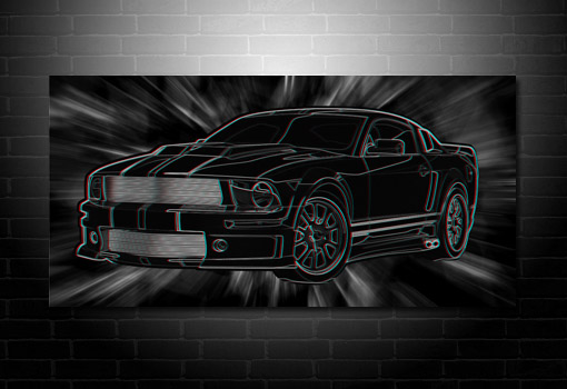 Mustang wall art, 3d canvas art print, mustang on canvas