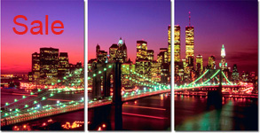 new york canvas picture, cityscape tryptych canvas
