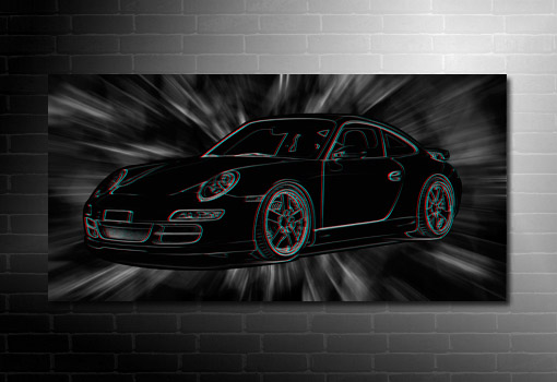 Porsche 3D Wall Art, 3d canvas art, porsche canvas art
