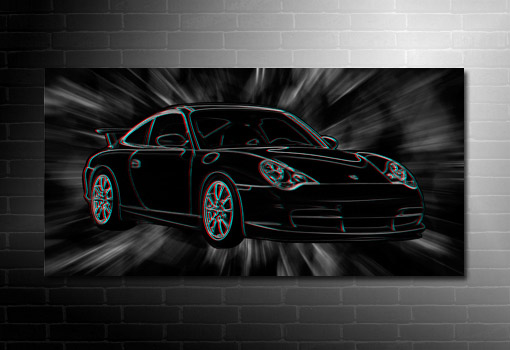 Porsche 3D Wall Art, 3d canvas art, porsche canvas art, Porsche Canvas Print