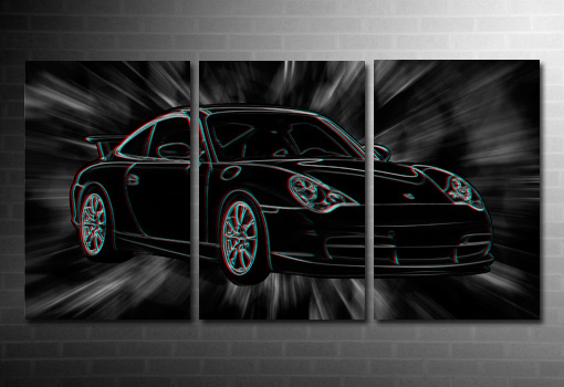 Porsche 3D Canvas Art, 3d canvas art print, porsche wall art