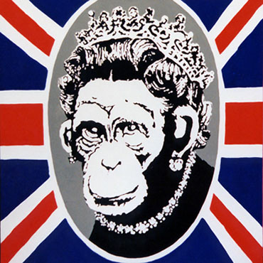 banksy the queen, banksy the queen canvas