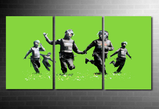 Banksy Riot Coppers Canvas green print, riot coppers banksy canvas, riot coppers banksy print, banksy wall art