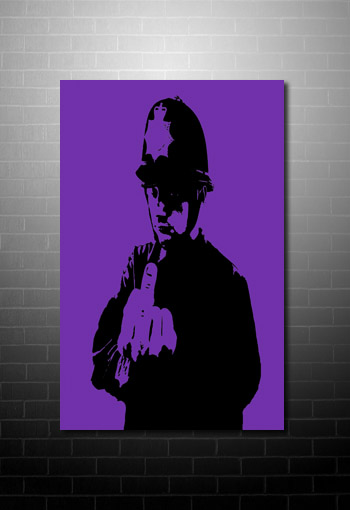 Banksy rude copper canvas art print, banksy cops print, banksy prints, banksy canvas painting