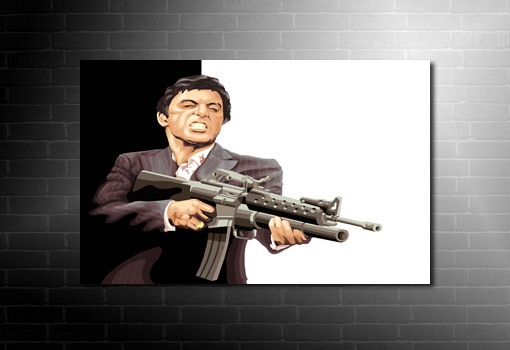 Tony Montana canvas art, scarface movie art, scarface wall art, scarface movie art print, scarface print, scarface pop art