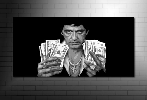 Scarface canvas artwork, Scarface Canvas, scarface wall art, scarface movie art, movie art canvas