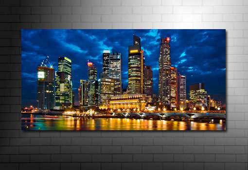Singapore Cityscape Canvas, Cityscape Wall Art, New York City Canvas