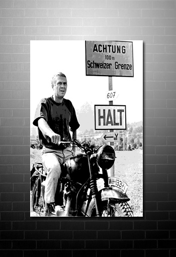 steve mcqueen canvas, great escape movie art, great escape movie canvas, movie canvases