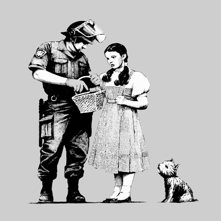 stop and search canvas, banksy wizard of oz