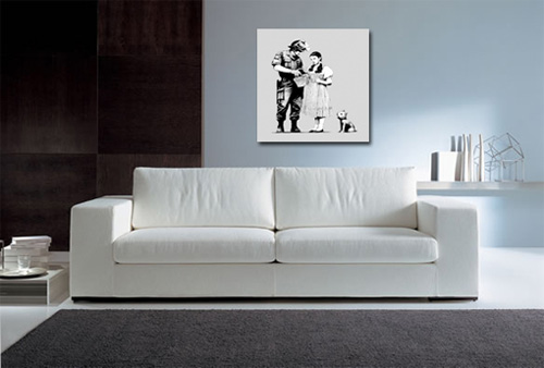 banksy canvas art print, banksy stop and search art