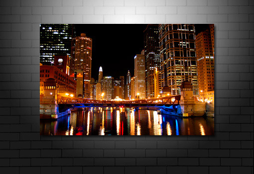 Chicao River canvas, chicago cityscape print