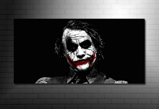the joker canvas wall art, heath legder canvas art print, batman movie print, the joker canvas