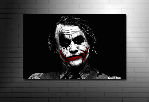the joker canvas art print, the joker wall art, batman canvas art