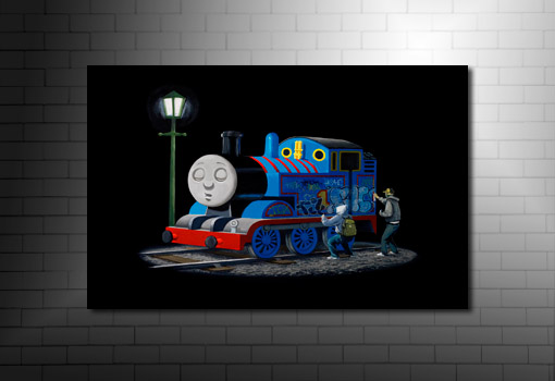 Banksy Thomas the Tank, banksy thomas the tank print, banksy canvas, banksy art uk, banksy canvas uk