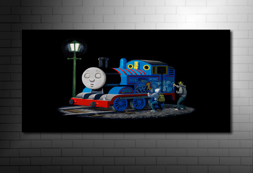 Banksy Thomas the Tank art on canvas, banksy thomas the tank canvas, banksy canvas uk, banksy canvas artwork