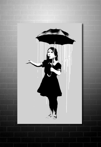 Banksy Umbrella Girl Print, banksy art uk, banksy canvas, banksy umbrella girl canvas, banksy wall art
