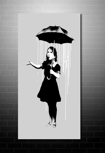 Banksy Umbrella Girl wall art print, banksy graffiti art, banksy canvas uk, banksy canvas prints, baksy girl canvas
