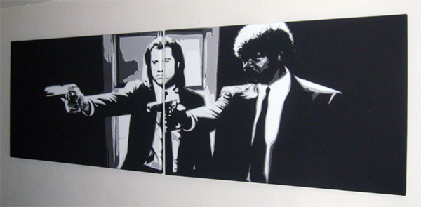 pulp fiction wall art, pulp fiction pop art, pulp fiction painting