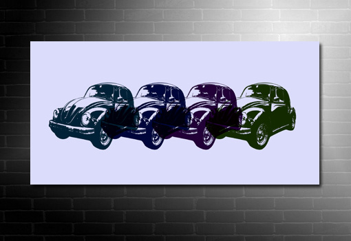 vw beetle canvas art print, vw beetle pop art canvas, vw beetle retro canvas art