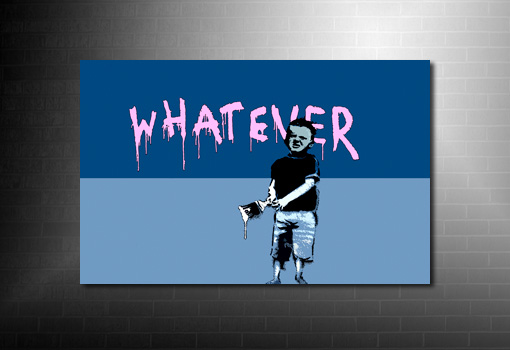 Banksy Canvas Whatever, banksy kid graffiti, canvas wall art, banksy modern art, banksy canvas art