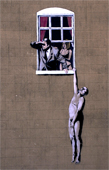banksy art, banksy hanging from window canvas, banksy art prints, banksy canvas art print, banksy canvas, banksy canvas print