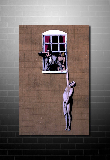 Banksy Canvas Window art print, banksy hanging from window, banksy canvas art, banksy wall art. banksy cnavas print