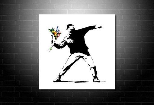 Banksy Graffiti Art Flower Chucker, banksy hooligan, banksy canvas at print, banksy modern art, banksy flower chucker art