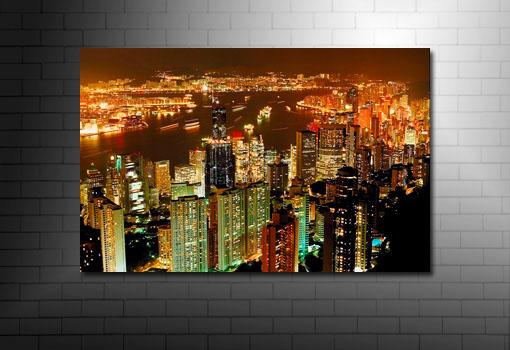 hong kong skyline canvas, hong kong wall art