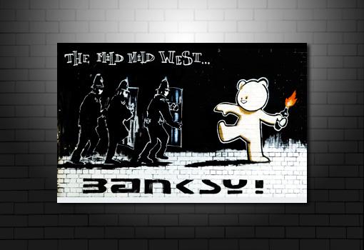 Mild West Banksy Print, banksy teddy bear canvas, banksy canvas art, banksy cops canvas, banksy canvas