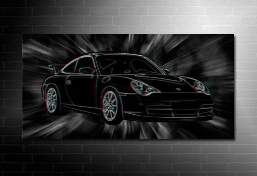 Porsche Canvas Wall Art, 3d canvas art print, porsche wall art