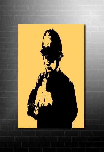 Banksy rude copper canvas art print, banksy modern art, banksy cops print, banksy canvas, banksy wall art
