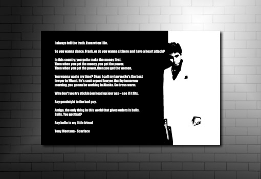 Scarface Print, scarface quotes print, scarface wall art, scarface movie art, scarface canvas artwork